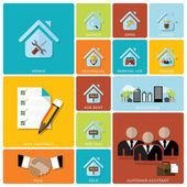 Business And Real Estate Flat Icon Set — Vector de stock