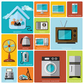 Electronic Machine And House Flat Icon Set — Stock Vector