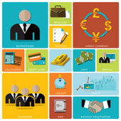 Business And Financial Flat Icon Set — Vector de stock