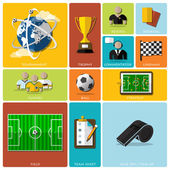 Football Tournament And Sport Flat Icon Design — Stock Vector