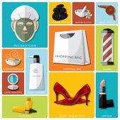 Woman Beauty And Lifestyle Flat Icon Set — Stockvector