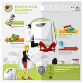 Woman Shopping Beautify And Lifestyle Infographic — Stock Vector