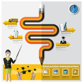 Education And Graduation Learning Infographic — Stock Vector