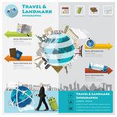 Travel And Journey Landmark Infographic — Stock Vector