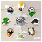 Football Tournament And Sport Flat Icon Infographic — Vettoriale Stock