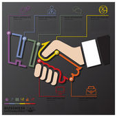Hand Shake Connection Timeline Business Infographic — Stock Vector
