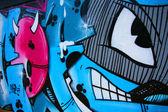 Funky graffitti yüz karakter karikatür — Stok fotoğraf