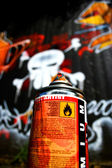 Graffiti skull and spraycan — Stock Photo