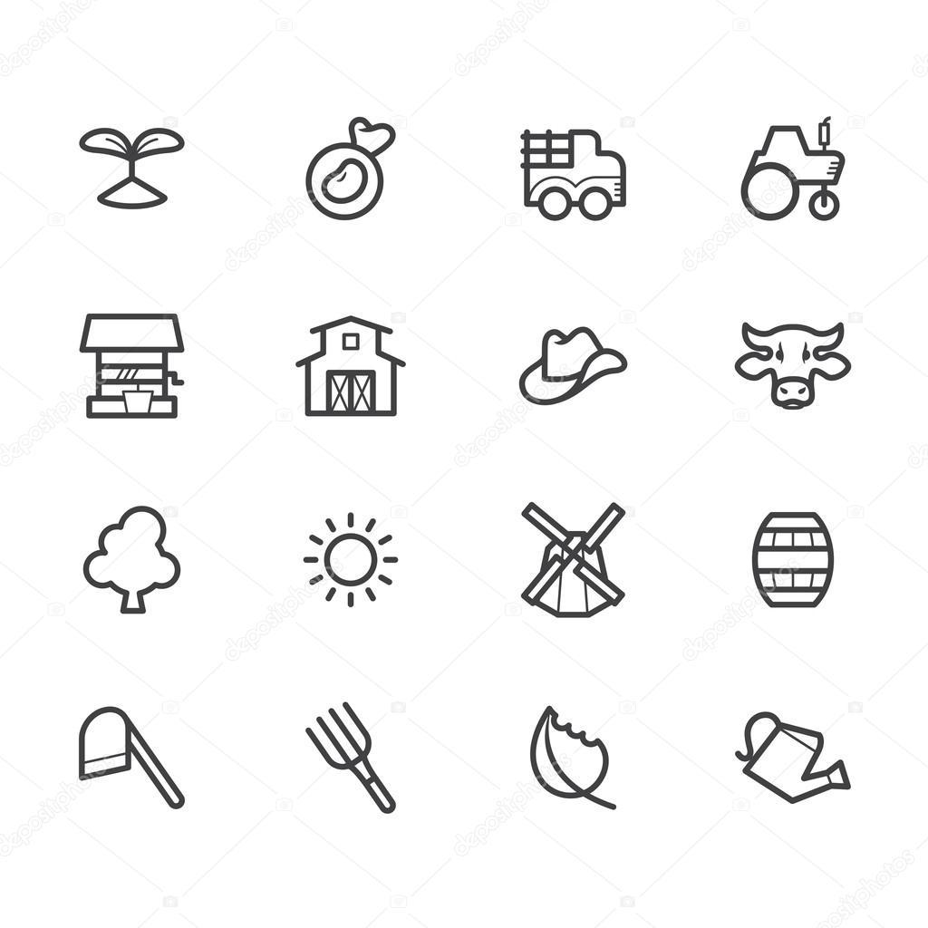 在白色背景上设置的农场黑色元素图标 — 矢量图片作者 kissbeetle