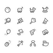 Baby toys vector black icon set on white background — Stock Vector
