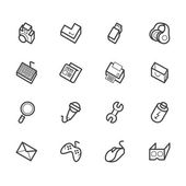 Computer element vector icon set on white background — Stockvektor