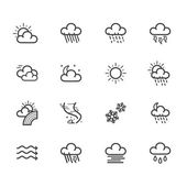 Weather element vector black icon set on white background — Stock Vector
