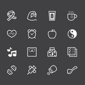 Healthy element vector white icon set 1 on black background — Vettoriale Stock