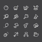 Baby toys vector white icon set on black background — Stock Vector