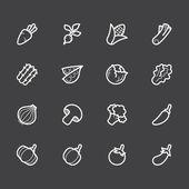 Vegetable vector white icon set on black background — Stock Vector