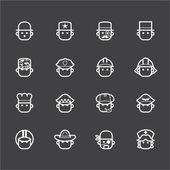 Ikona wektor zawód zestaw 1 na czarnym tle — Wektor stockowy