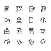 Market store vecter black icon set on white background — Stock Vector