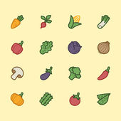 Vegetable element vector color icon set — Stock Vector