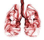Red smoke formation shaped as human lungs. Illustration of smokers lungs which could be used in non-smoking campaigns or lung cancer campaigns. — Stock Photo