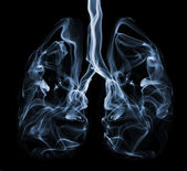 Blue smoke formation shaped as human lungs. Illustration of smokers lungs which could be used in non-smoking campaigns or lung cancer campaigns. — Stock Photo