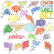Crayon speech bubble set — Stock Vector