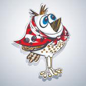 Vector cartoon funny bird — Stock Vector