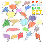 Crayon speech bubble set — Stockvektor