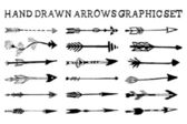 Hand drawn arrows graphic set — Stock Vector