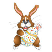 Brown Easter bunny  with  Egg — Stock Vector
