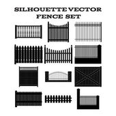 SILHOUETTE VECTOR  FENCE  SET — Stock Vector