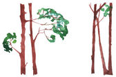 Set of different trees painted by watercolor, vector illustration — Stock Vector