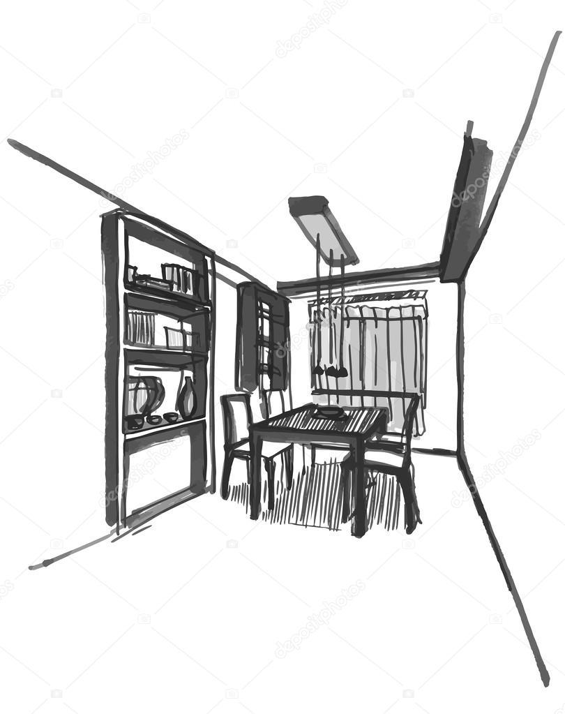 Dining Room Vector Dining Room Sketch — Vector