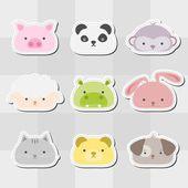 Animal Head Sticker Set — 图库矢量图片