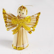 Handmade christmas decoration angel from straw — Stock Photo