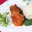 Fried Chicken with sticky rice — Stock Photo