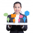 Businesswoman  showing  graph. — Stock Photo
