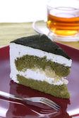 Japanese matcha green tea cake — Stock Photo