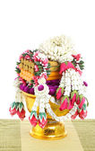 Flower decorated on tray with pedestal — Photo
