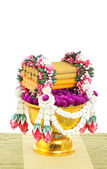 Flower decorated on tray with pedestal — Stock Photo
