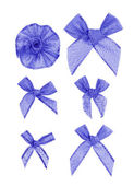 Festive blue bows made of ribbon. Isolated on a white background — ストック写真