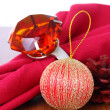 Christmas decorations with topaz ring. — Stock Photo