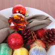 Photo: Christmas decorations in white bowl.