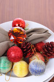 Christmas decorations in white bowl. — Stock Photo