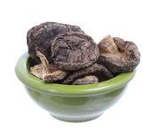Dried Shiitake Mushrooms in bowl, white background — ストック写真