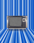 Vintage tv with blue stripes background — Стоковое фото