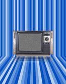 Vintage tv with blue stripes background — Stok fotoğraf