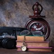 Stock Photo: Group of objects on wood table. wood clock, old watch, retro ra