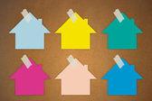 Colorful sticky Notes on wall, House shape — Zdjęcie stockowe