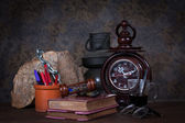 Group of old objects on wooden table — Stock Photo