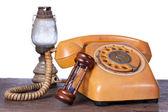 Hourglass, old  telephone — Stock Photo